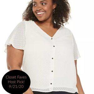 White Button Down Short Sleeve Blouse 2X